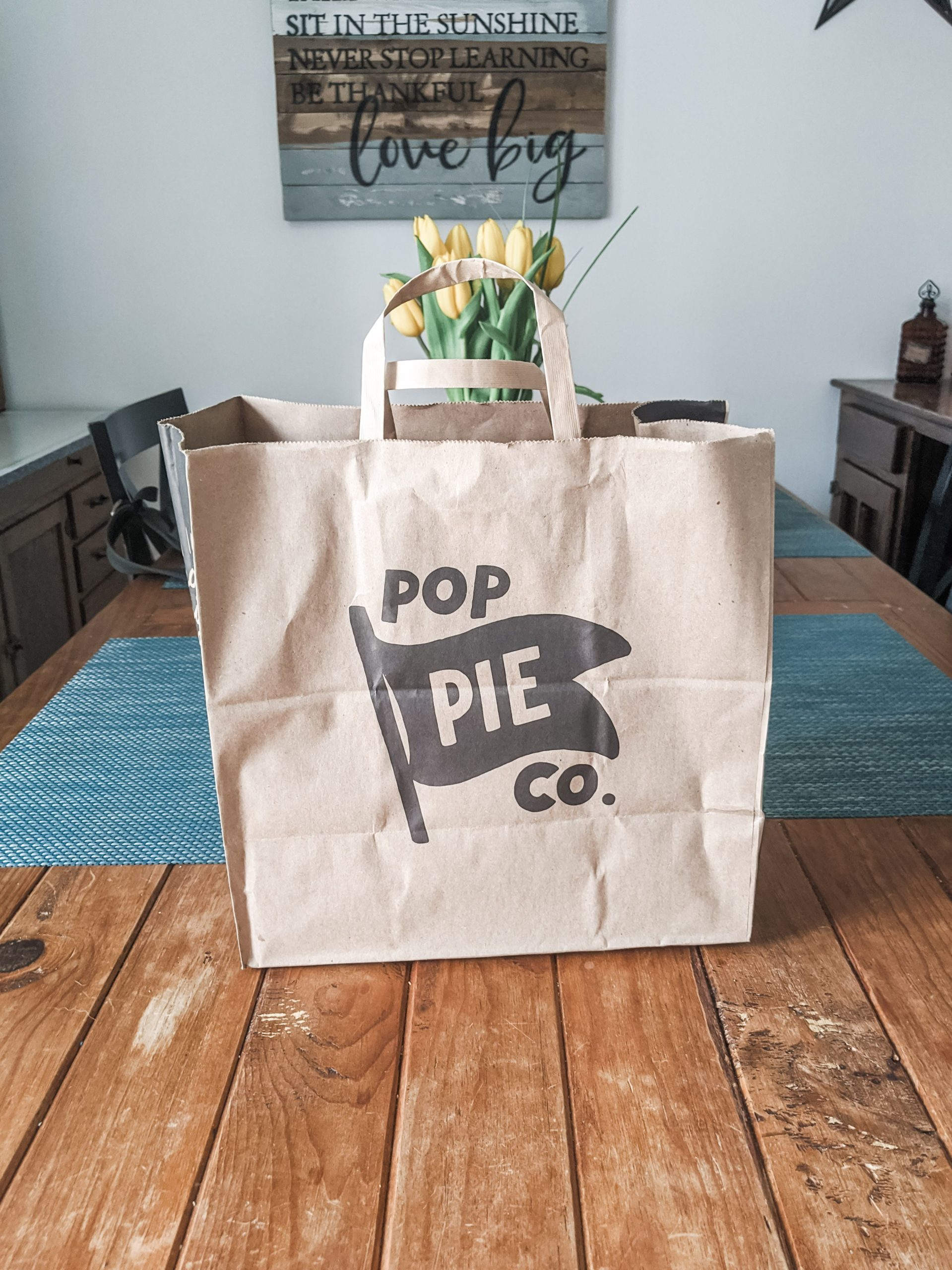 Takeout bag from Pop Pie Co.